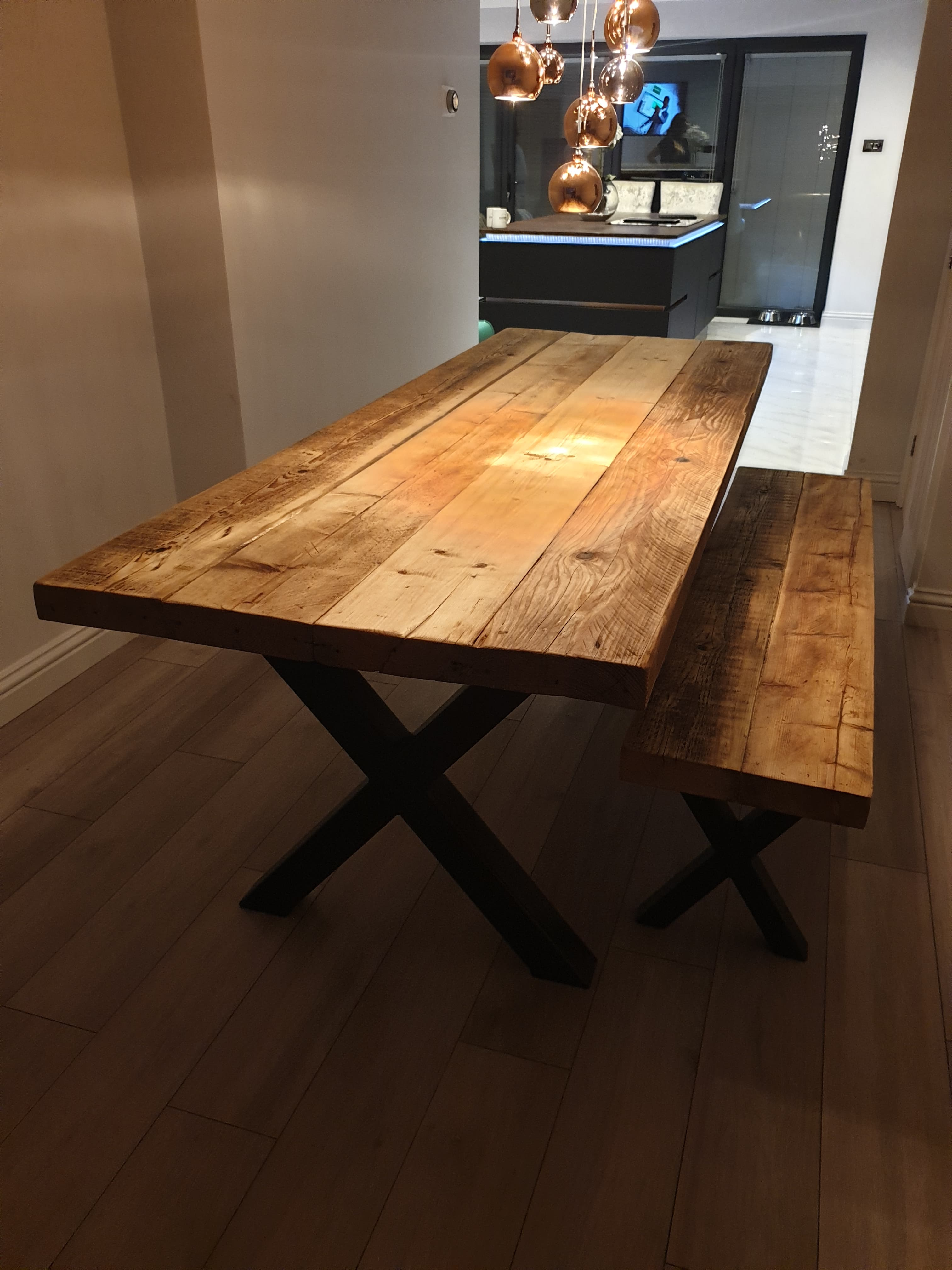 hand made dining table and chairs