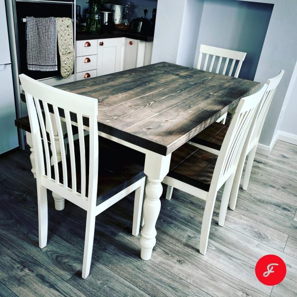 Greywash Top Farmhouse Table and Chairs Set