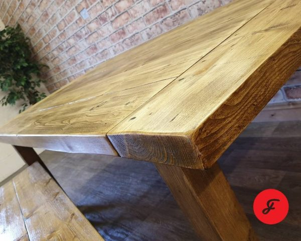 handmade wooden bench and table