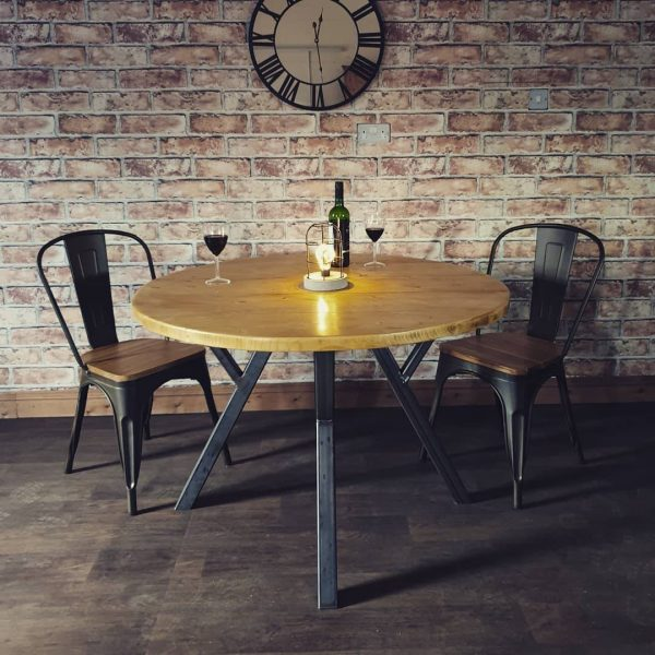 handmade round wooden table x legs