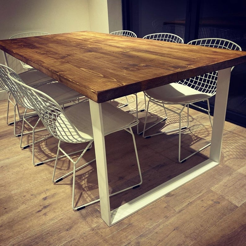 Rustic Wood Top Dining Table with Metal Flat Bar Frame