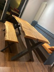 Live Edge Dining Table X Frame Legs (Solid Oak)