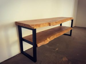 hand crafted live edge tv unit